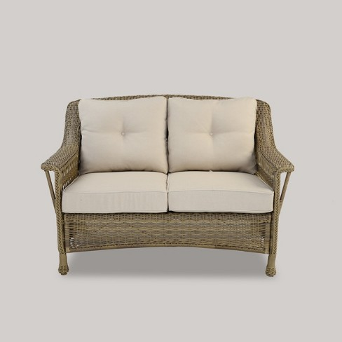 Cambridge All Weather Wicker Loveseat With Cushions Threshold