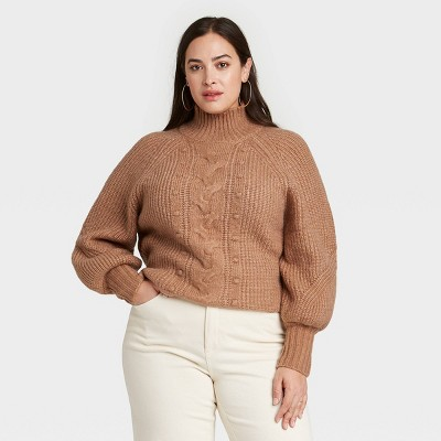 Women's Plus Size Turtleneck Pullover Sweater - Ava & Viv™