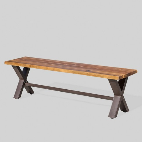 Sanibal Acacia Wood Patio Dining Bench Brown Christopher Knight Home