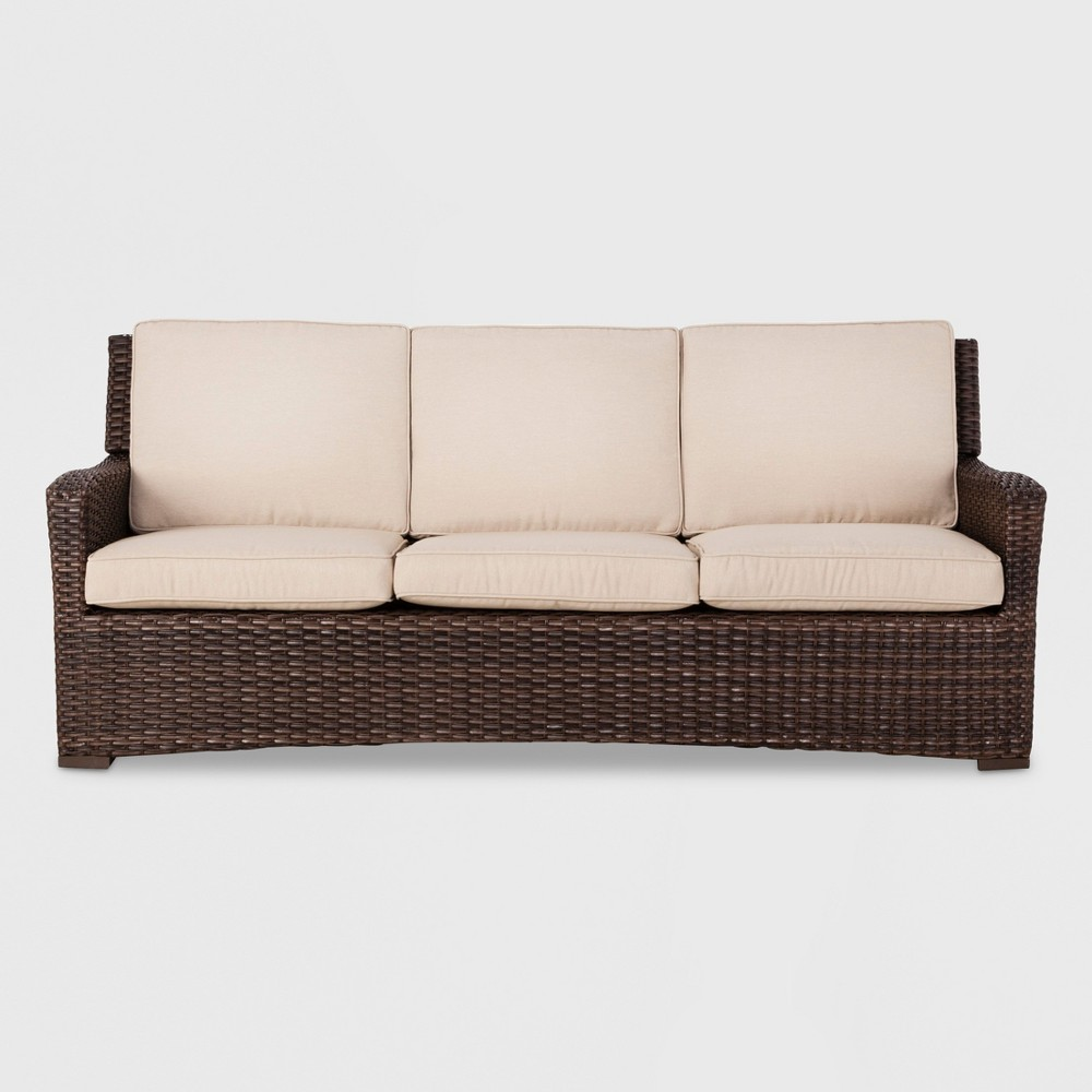 Halsted Wicker Patio Sofa - Tan - Threshold