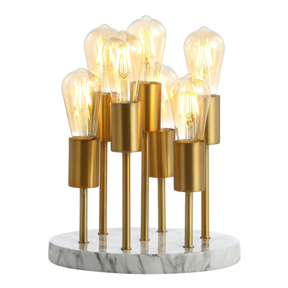 """Image of """"13.5"""""""" Pleiades Modern Metal/Resin LED Accent Lamp White/Brass (Includes Energy Efficient Light Bulb) - JONATHAN Y"""""""