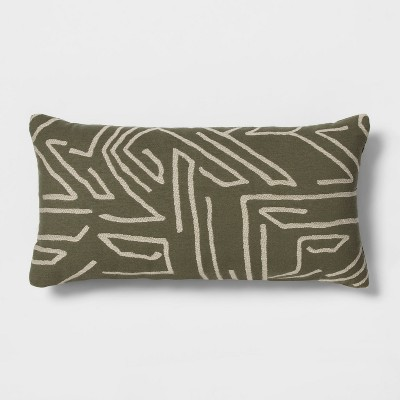 Linework Oversized Lumbar Throw Pillow Green - Project 62™