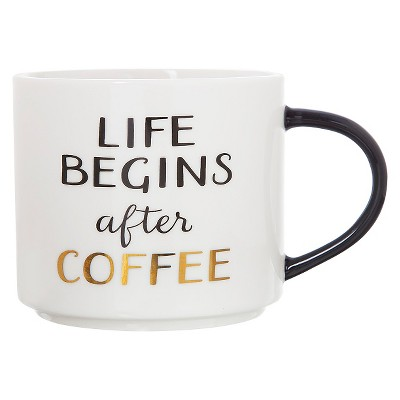 Clay Art Stackable Mug 15oz Porcelain -  Life begins after coffee