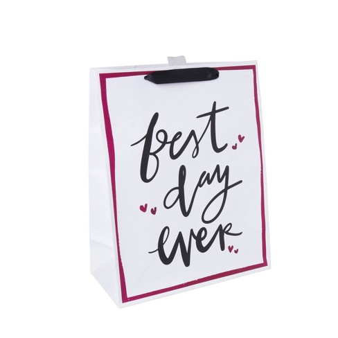 "Large ""Best Day Ever"" Gift Bag White - Spritz™ - image 1 of 1"