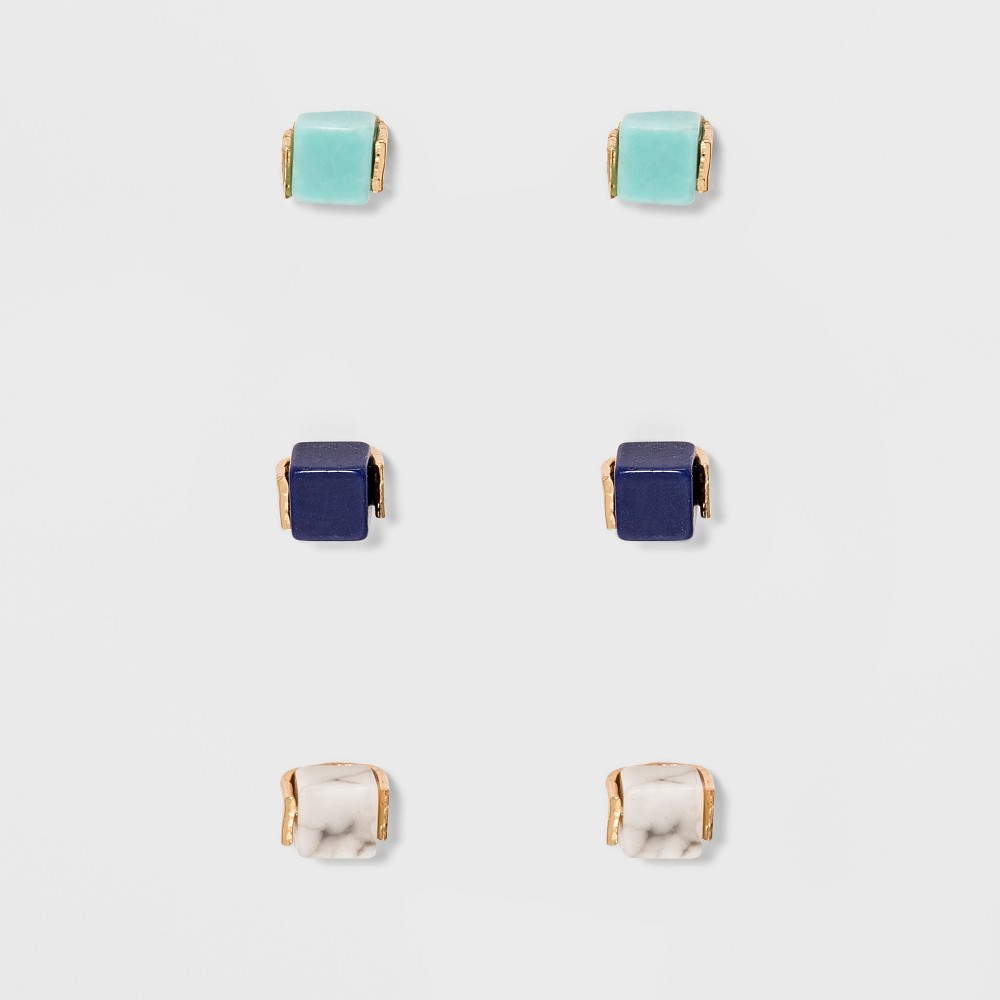 Small Stone Cubes Earring Set 3ct - Universal Thread Gray