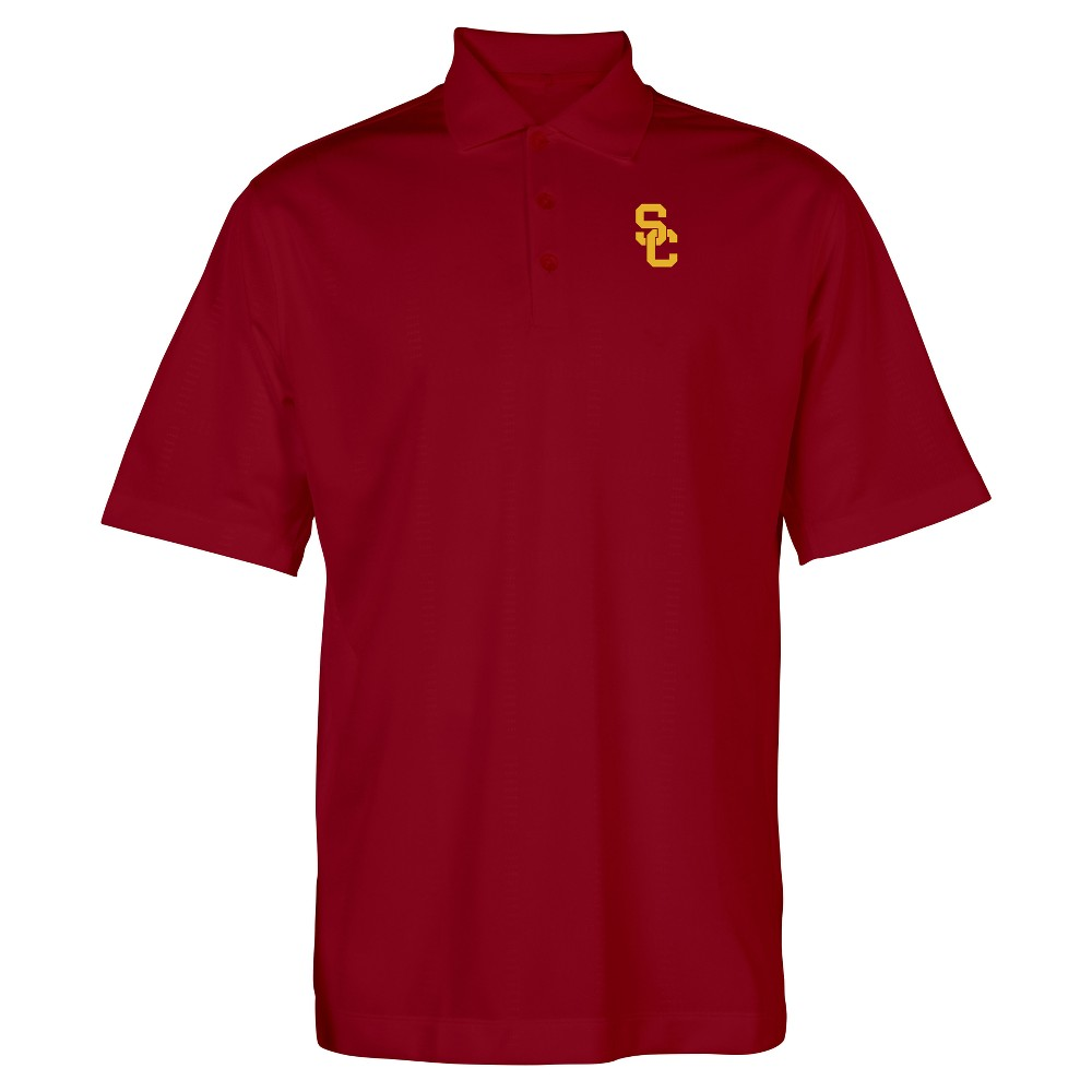 Usc Trojans Men's Short Sleeve Silh Polo Shirt S, Red