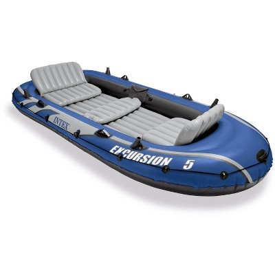 Intex Excursion 5 Person Inflatable Heavy Duty Rafting and Fishing Boat Set with 2 Oars, High Output Air Pump, and Carry Bag for Lakes and Mild Rivers