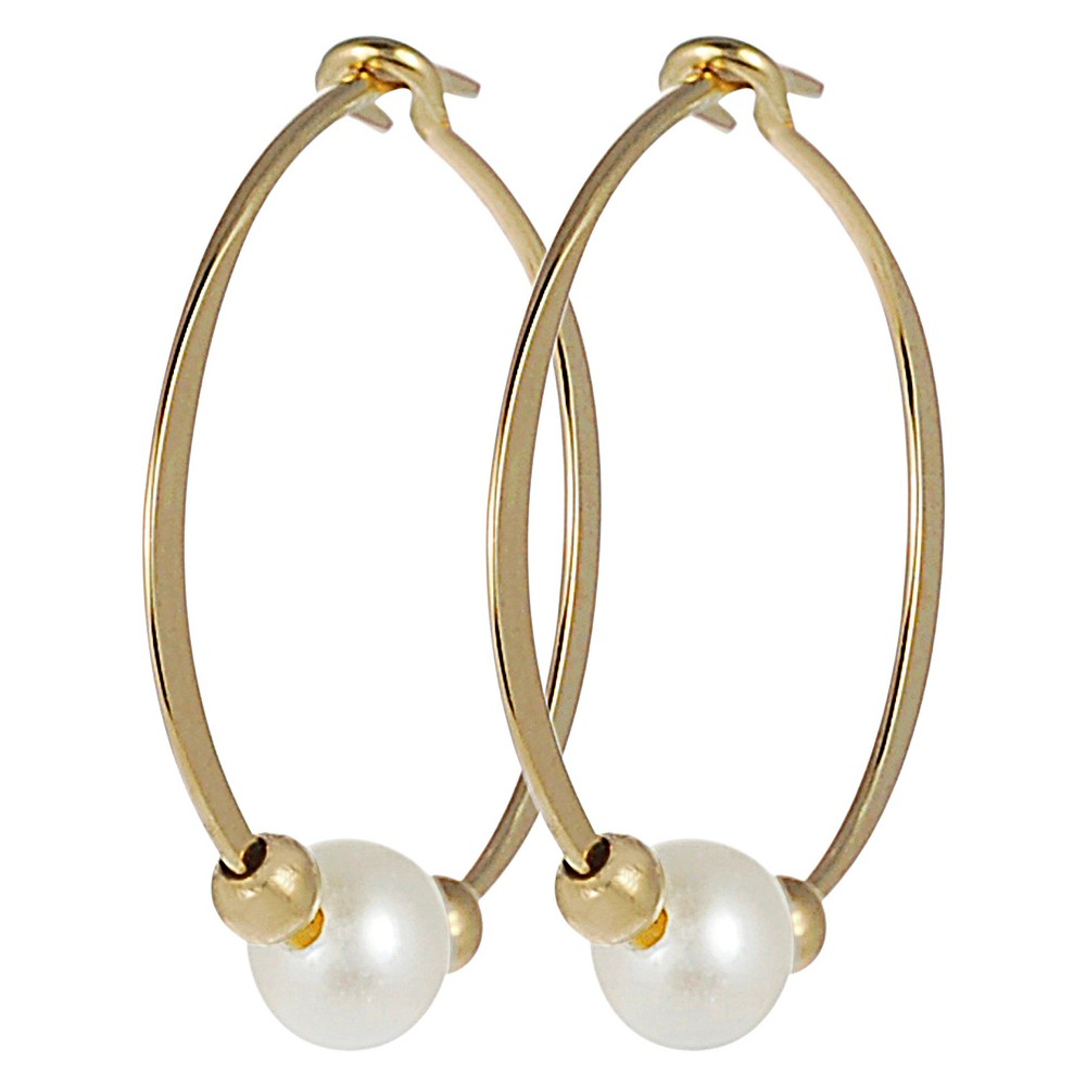 Women's Journee Collection Goldtone Hand-crafted Hoop Earrings with Simulated Pearls - Gold
