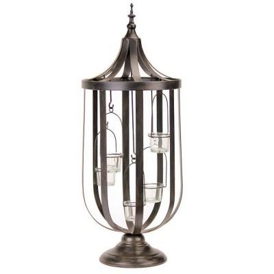 "Melrose 27"" Antique-Style Bronze Birdcage Glass Votive Candle Holder"