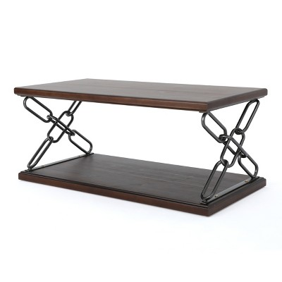 Milah Industrial Coffee Table Dark Walnut   Christopher Knight Home