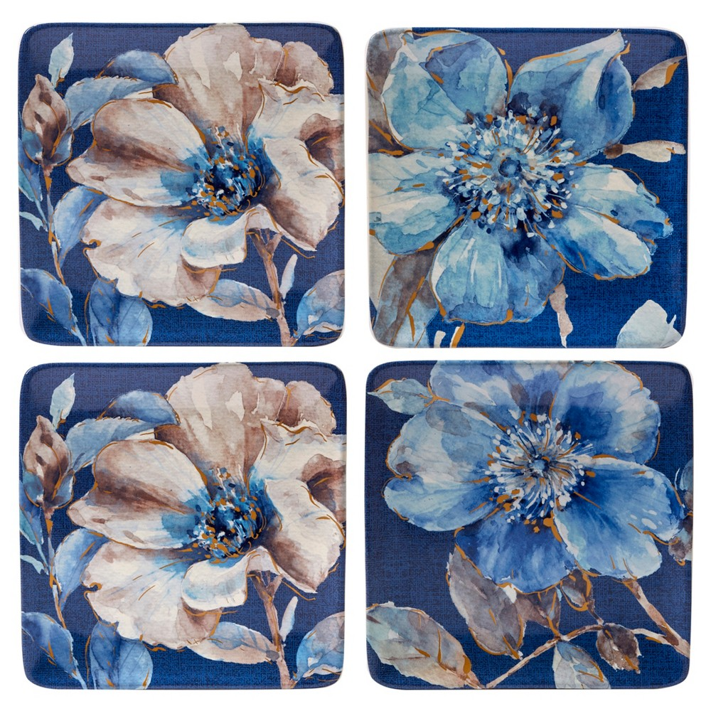 Certified International Indigold Lisa Audit Ceramic Dessert Plates 8.8 Blue - Set of 4