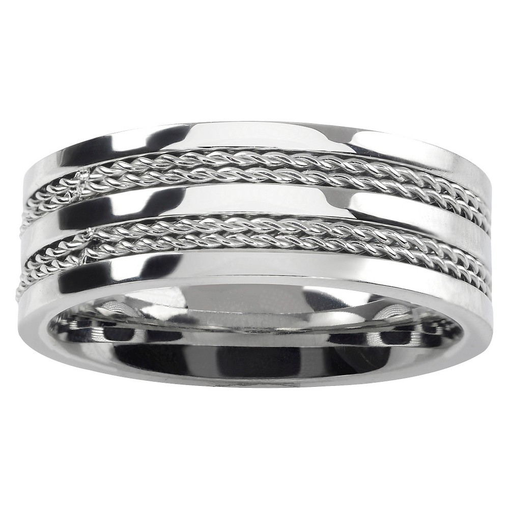 Men's Vance Co. Stainless Steel Four Rope Band - Silver, 12 (8MM)