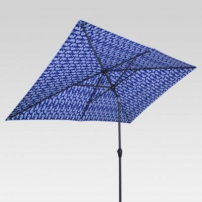 10' x 6' Rectangular Dual-Sided Patio Umbrella - Seahorse - Black Pole - Threshold™