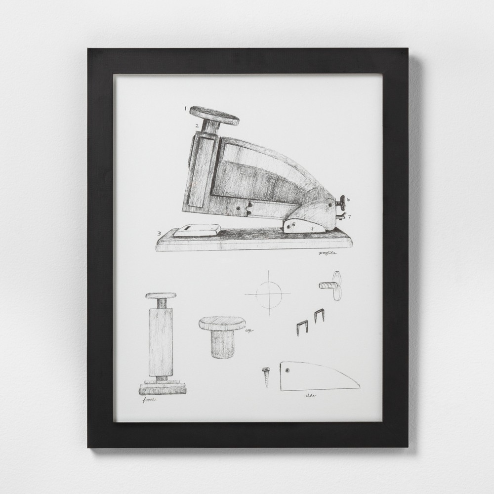 "Image of ""16"""" X 20"""" Stapler Wall Art with Black Wood Frame - Hearth & Hand with Magnolia"""