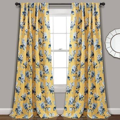 "52""x84"" Tania Floral Room Darkening Window Curtain Panels Set - Lush Décor"