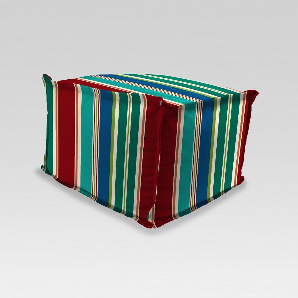Astounding Outdoor Boxed Edge Poufottoman Redgreen Stripe Jordan Squirreltailoven Fun Painted Chair Ideas Images Squirreltailovenorg