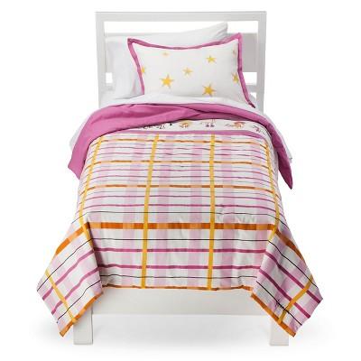 Rachel Kate Girls Punk Animal Plaid Comforter Set - White/Pink/Yellow Twin