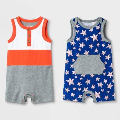 Baby Boys' 2pk Americana Romper Set - Cat & Jack™ Gray 12M