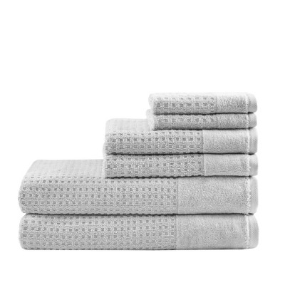 6pc Spa Waffle Jacquard Cotton Bath Towels Sets Gray