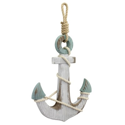 "17.3"" x 10"" Wooden Anchor Wall Decor White/Light Blue - Stonebriar Collection"
