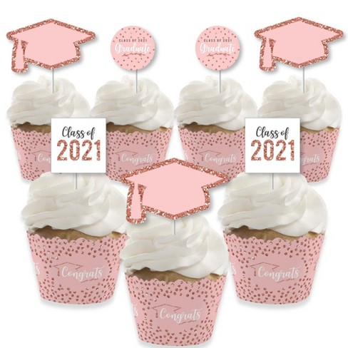 Big Dot of Happiness Rose Gold Grad - Cupcake Decoration - 2021 Graduation Party Cupcake Wrappers and Treat Picks Kit - Set of 24 - image 1 of 4