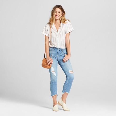cd97d7d62e3 Women s Striped Short Sleeve Button-Down Shirt - Universal Thread™ Cream    Target