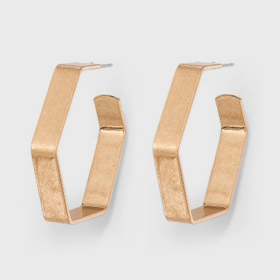 Hexagon Hoop Earrings - Universal Thread™ Gold