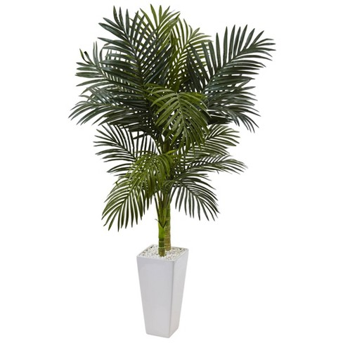 60 Artificial Golden Cane Palm Tree In Planter White Nearly Natural Target