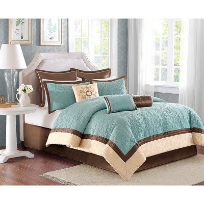Camila 9 Piece Quilted Comforter Set - Blue (Queen)