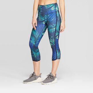 "Women's Everyday High-Waisted Tropical Print Capri Leggings 20"" - C9 Champion® Blue XS"