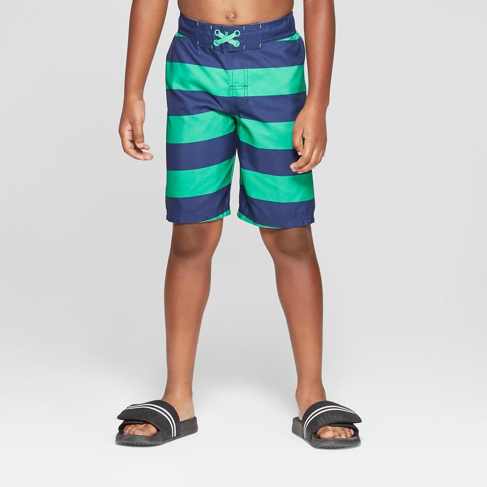 Boys' Rugby Stripe Swim Trunks - Cat & Jack Blue M Husky, Green