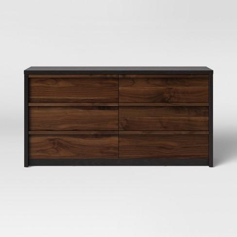 Gruen Two Tone 6 Drawer Dresser Walnut