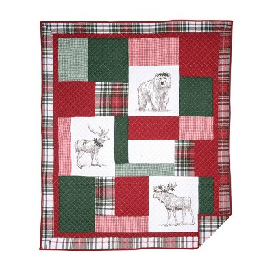 C&F Home Lennox Holly Cotton Quilted Throw