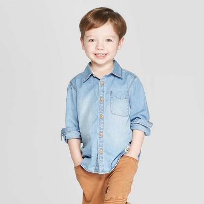 Toddler Boys' Long Sleeve Chambray Button-Down Shirt - art class™ Blue 12M