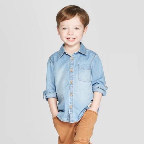 191dc0457 Toddler Boys' Long Sleeve Chambray Button-Down Shirt - Art Class™ Blue :  Target