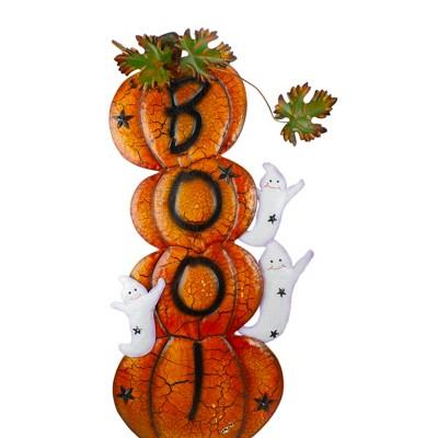 "Northlight 33"" Orange and Black Stacked Pumpkins Outdoor Halloween Decoration"