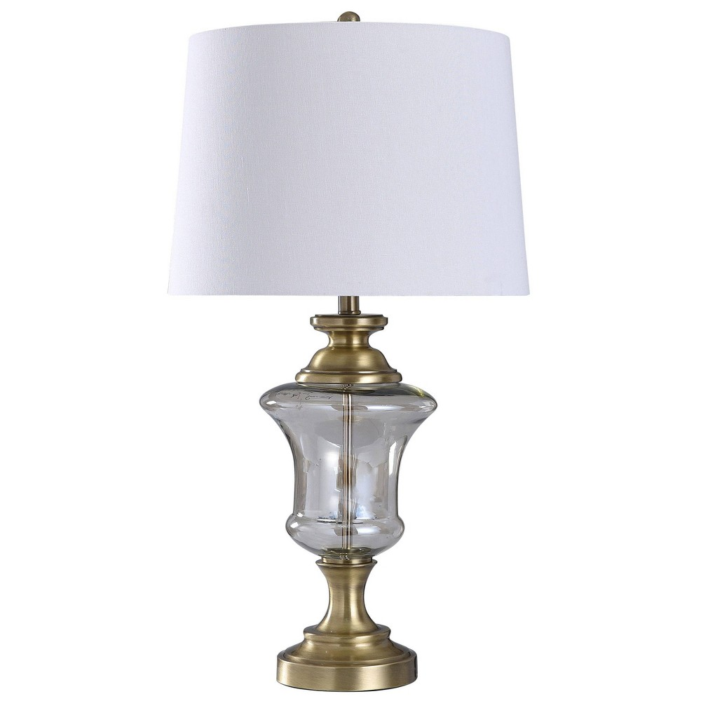 Glass Metal Urn Table Lamp With Tapered Drum Shade Antique Brass Stylecraft
