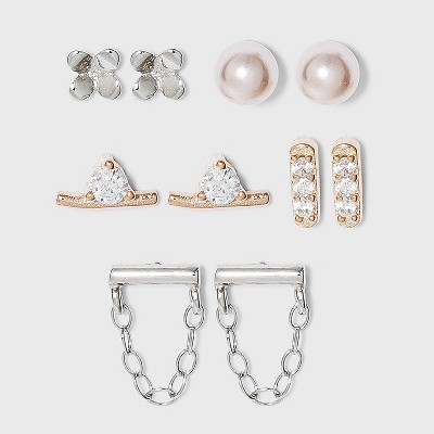 Sterling Silver Two-Tone Rose Gold with Cubic Zirconia and Pink Pearl Earring Set - A New Day™