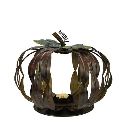 """Napco 10"""" Brown and Green Pumpkin Thanksgiving Votive Candle Holder"""