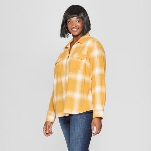 aec063af65fe4 Women s Plus Size Plaid Long Sleeve Flannel Shirt - Universal Thread™ Yellow