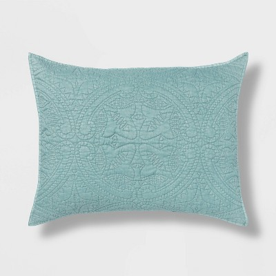 King Medallion Stitch Sham Dusty Jade - Opalhouse™