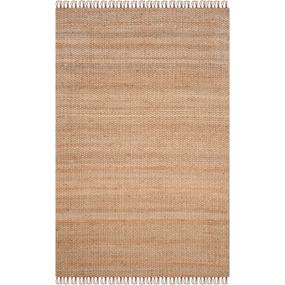 6'X9' Solid Woven Area Rug Natural - Safavieh, White