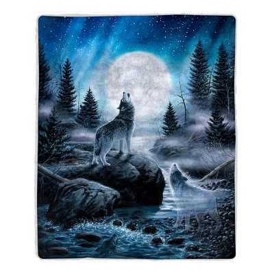 Sherpa Fleece Throw Blanket- Howling Wolf Pattern, Lightweight Hypoallergenic Bed or Couch Soft Plush Blanket for Adults and Kids by Hastings Home