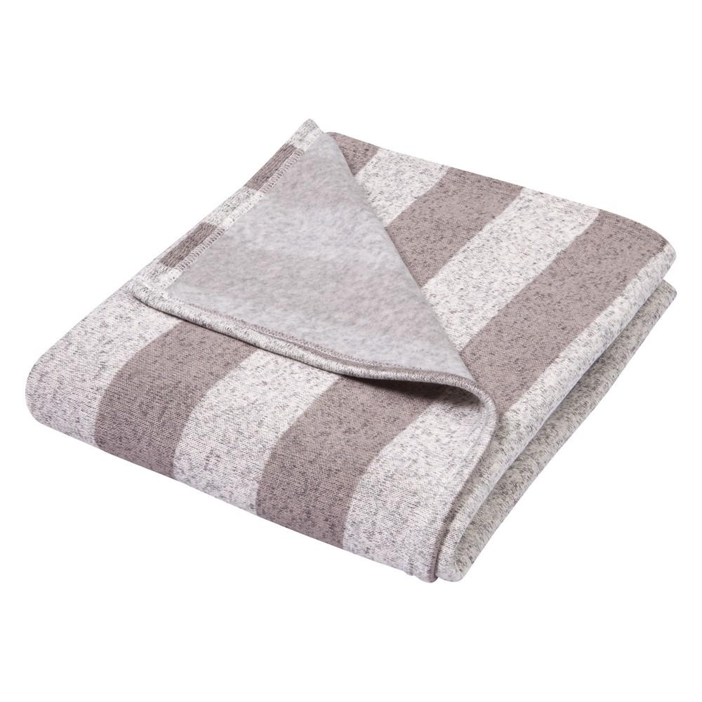 Trend Lab Sweatshirt Knit Baby Blanket Rugby Stripe Gray