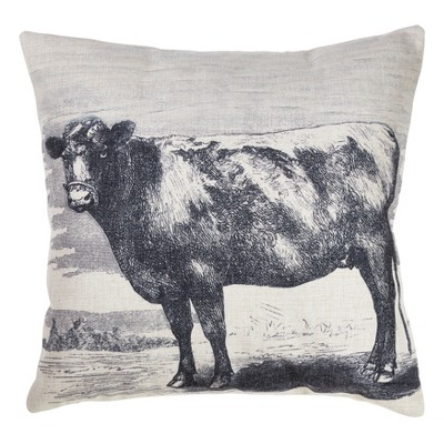 Cow Print Square Throw Pillow Gray - Saro Lifestyle