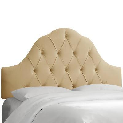 Arched Tufted Headboard - Velvet Buckwheat - California King - Skyline Furniture