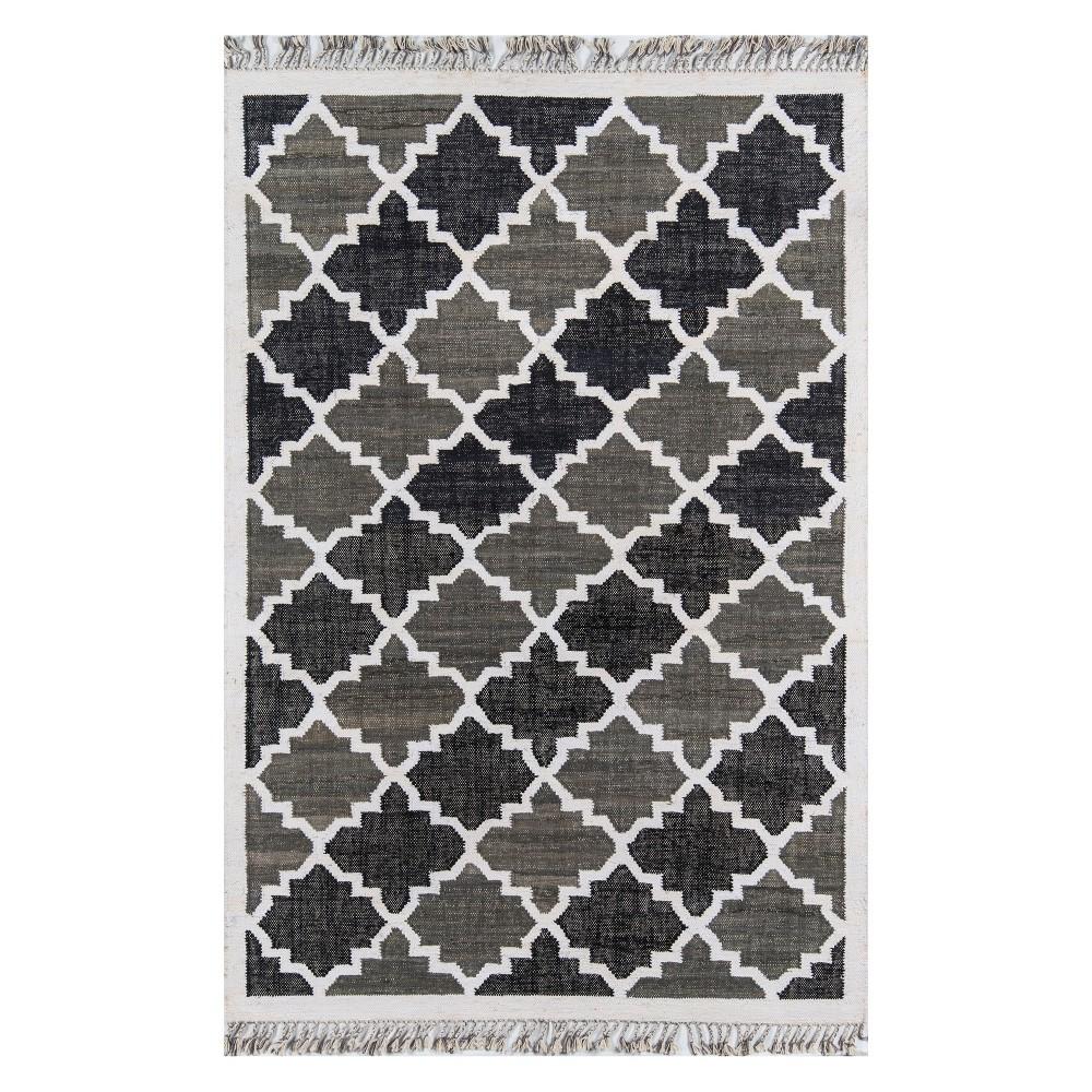 Image of 2'6X4' Geometric Woven Accent Rug Charcoal - Novogratz By Momeni, Gray White