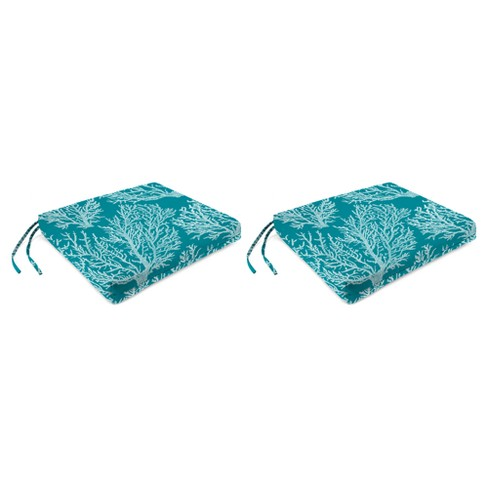 Outdoor Set Of 2 French Edge Seat Cushions In Seacoral Turquoise  - Jordan Manufacturing - image 1 of 2