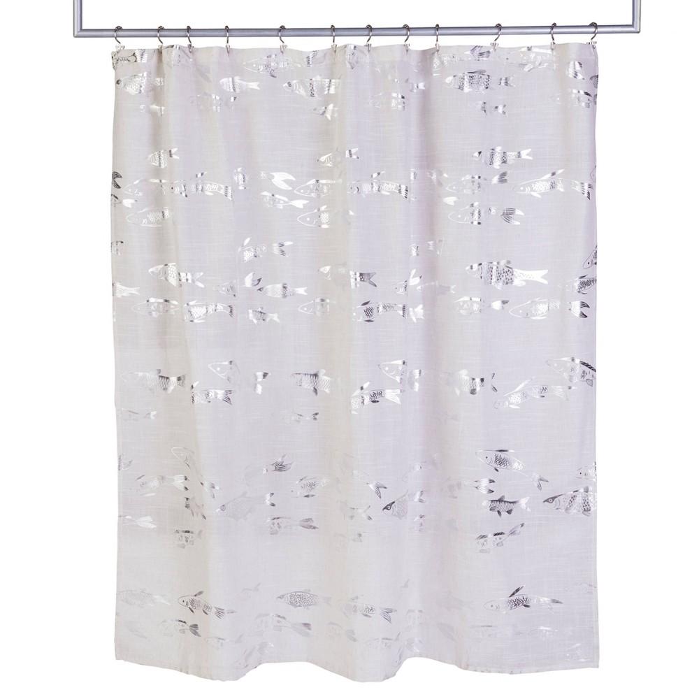 Vern Yip Koi Shower Curtain Silver Skl Home