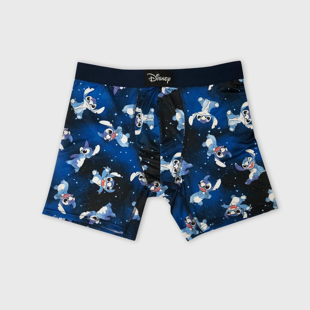 Men's Disney Stitch Spaced Out Watercolor Toss Hanging Boxer Briefs - Navy S, Blue